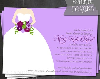 Printable Lavender Bridal Shower Invite - Digital File ONLY