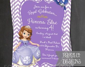 Printable Princess Sofia the First Birthday Invite - Digital File ONLY