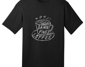 DAMN FINE COFFEE - Black and White -  Twin Peaks inspired - Mens / Womens illustrated T-shirt / Tee - iOTA iLLUSTRATiON