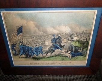 Civil War Currier & Ives Lithograph of the Battle of Williamsburg on May 5, 1862