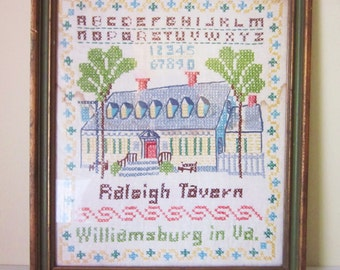 Williamsburg Cross-Stitch Sampler, Vintage, Colonial-Style Wall Art, Raleigh Tavern, Williamsburg, VA, Mid Century