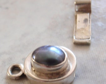 Sterling Box Clasp Blue Iridescent Pearl Oval No Trim Qty. 1