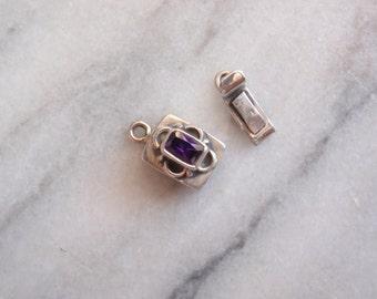 Sterling Silver Box Clasp Rectangular Fancy Trim Purple Qty. 1