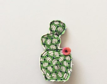 Cactus brooch - succulent - wearable art - thread drawing