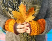Autumn glow. Crochet Fingerless mitts