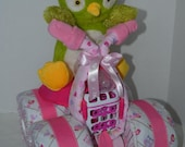 Diaper Cake, 4-Wheeler, Quad,Owl Blankets,Motorcycle Owl Baby Shower,Girl Baby Gift, Shower Centerpiece, Baby Shower Gift,Unique, Owl