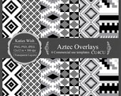 Aztec Tribal Overlays digital template kit commercial use PNG, PSD layers instant download file