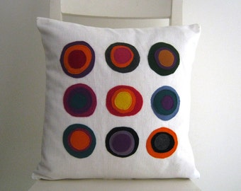 Multy Colors 16x16 Cushion Cover - Colorful Patches on White Cotton.
