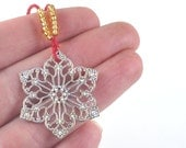 Christmas Ornament Xmas Tree Decoration Silver Star with Gold Seed Beads Holiday Decor