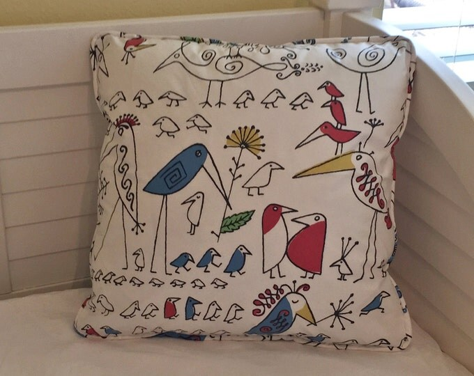 Schumacher Aviary in Multi Designer Pillow Cover - Square, Euro and Lumbar Sizes