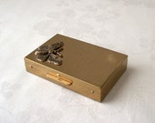 vintage goldtone metal pill box - 60s pill case with vials - butterfly medicine box
