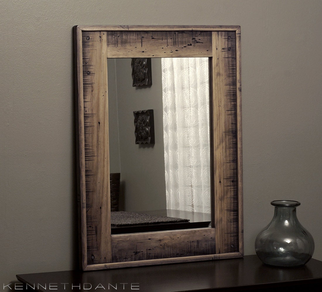 Wood Mirror Bathroom: Bathroom Mirror Wood Mirror Distressed Mirror By KennethDante