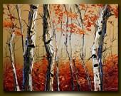 Autumn Birch Landscape Painting Oil on Canvas Textured Palette Knife Modern Original Tree Art 12X16 by Willson Lau