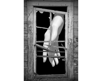 Mannequin White Hand behind the Broken Wooden Window Frame No.01 A Black and White Fine Art Surreal Fantasy Photograph