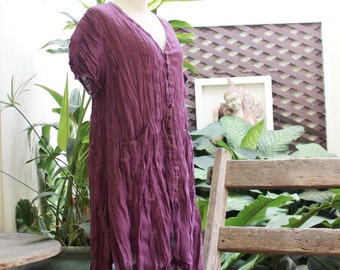 L-XL Comfy Roomy A-Shape Short Sleeves Blouse/ Short Tunic -  Purple