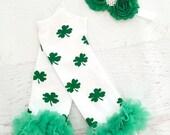 St Patricks Day Leg Warmers, Baby Leg Warmer Set, St Patricks Day Set, Shamrock Leg Warmers
