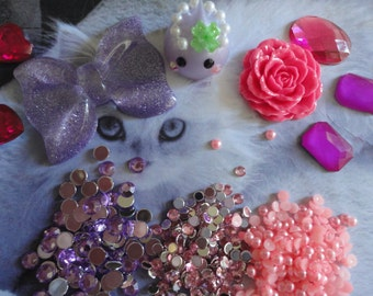 kawaii cabochon decoden phone deco diy charm purple bow and teardrop kit mini   24---USA seller