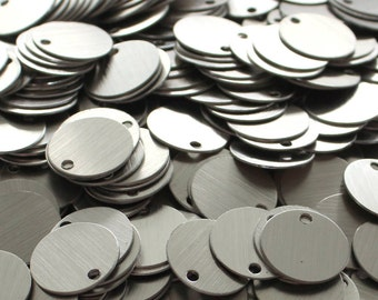 200 Brushed Aluminum Tags Discs Circles