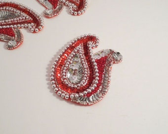 Red and Silver Beaded Paisley Duo Applique--One Piece