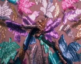 Colorful Leaf Design Silk Cut Velvet Fabric with Gold Lurex--One  Yard