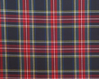 Classic Black with Hunter Green and Red Tartan Plaid Fine Twill Cotton Shirting Fabric--One Yard