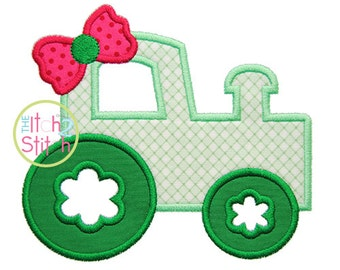 Girly Tractor Applique Design For Machine Embroidery ,  INSTANT DOWNLOAD now available