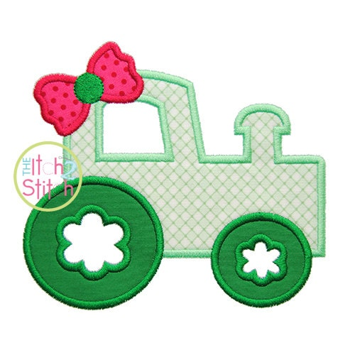 Girly tractor applique design for machine embroidery