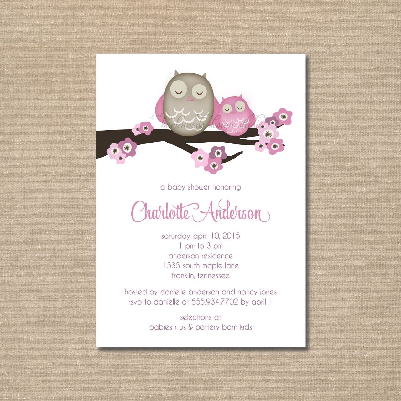 diy mama owl baby shower invitations custom designs