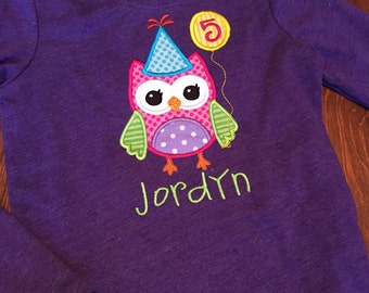 Birthday Owl Personalized shirt