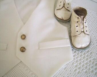 White Linen-look Baby Vest size 6 to 12 mo. Baby Baptism Waistcoat, Baby Boy Christening Vest, Baby Wedding waistcoat