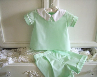 On Sale! Mint Green Diaper Shirt and Shorts size 3 to 6 mo. Vintage Inspired, Baby Boys 2 Piece Outfit, Baby Shirt and Diaper Cover