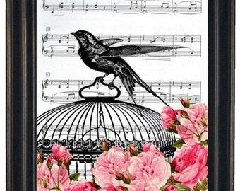 BOGO 1/2 OFF  Dictionary Art Prints Sheet Music Prints Bird Cage with Flowers A HHP Original Concept and Design Dictionary Prints