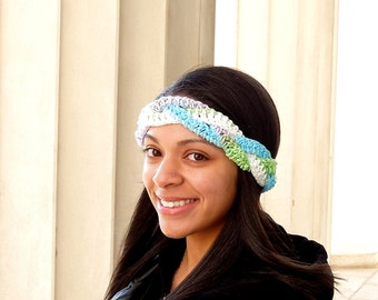 Crochet Cotton Headband, Women, Teen, Multicolor, Headpiece, Spring Headband, Summer Headband