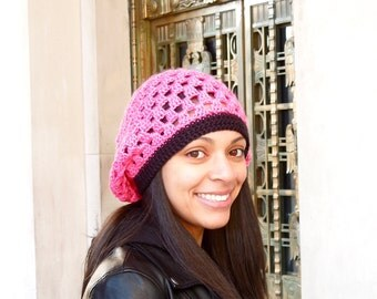 Slouchy Hat, Crochet, Pink, Women,Teen, Ready To ship, Tam