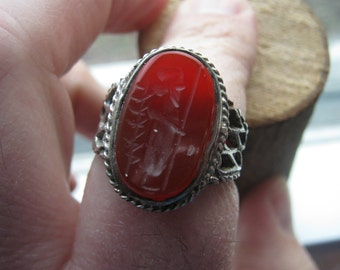 Vintage Sterling Silver Men's Carnelian Intaglio Ring Soldier with Spear Size 10