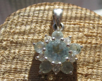 Small Vintage Blue Flower Ladies Pendant Womens Sterling Silver