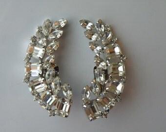 On Sale Juliana style clear rhinestone, silver plate metal clip-on earrings