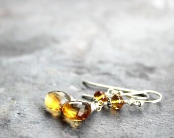 Simple Citrine Earrings Silver Sterling Dangle Wire Wrapped November Birthstone Drop Earrings