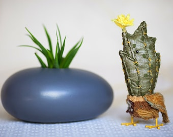 Reserved.Cactus bird , textile  art  sculpture    cacti bird unique creature  by Wassupbrothers, green, flowers object cactus