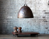 SALE Small Industrial Rustic Rusted Hanging Riveted Reclaimed Iron Light Fixture Pendant Light