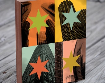 Chicago Pop Art - Chicago skyline art - Chicago Art Print - Chicago Flag - Wood Block Art Print
