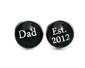 Custom Cuff links Dad Est Personalized Gift for Him Father's day Gift First time dad Birthday Gift for Man Husband gift