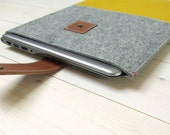 MACBOOK CASE FELT yellow with leather closure - Retina, Air or pro also for 12 inch