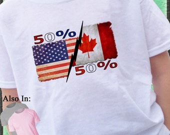 50% USA 50 Canadian Distressed Flag Shirt or Bodysuit Canada and American Nationality Country Proud Tshirt