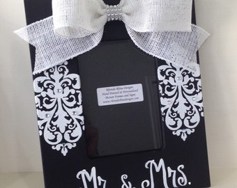 Hand Painted Mr&Mrs Frame in Black and White
