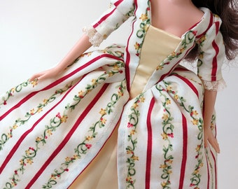 Historic Colonial Barbie dress: Holiday Garland Stripe with Yellow Satin