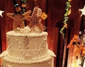 Coastal Wedding Decoration- Sugar Starfish Bride and Groom with Top Hat Alternative Cake Topper on clear base