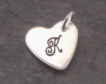Hand Stamped Monogrammed Heart Charm -  1/2 Inch Sterling Silver Heart Shaped Disc -  Add a Charm to Your Jewelry - Birthdays, Valentine Day