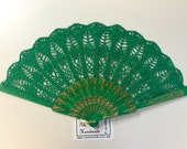 Wedding HAND FAN in Green, Feng Shui Gift, Wedding Accessory, Lolita, Bride Bouquet, Photo prop, Made in America
