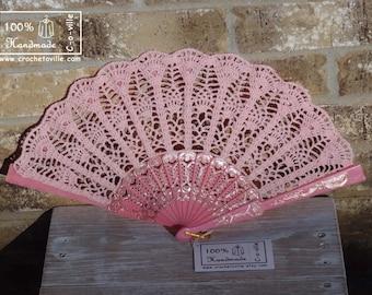 Wedding folding HAND FAN in Light Pink, Feng Shui Gift, Wedding Accessory, Lolita, Bride Bouquet, Photo prop, Made in America